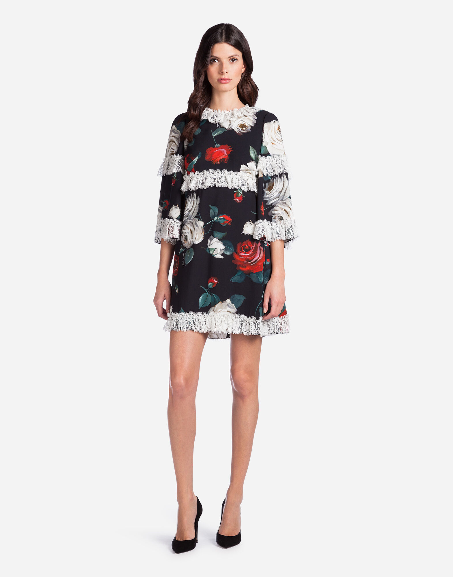 PRINTED CADY DRESS WITH LACE DETAILS