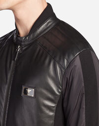 JACKET IN NYLON AND LEATHER
