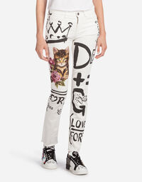 GIRLY-FIT PRINTED DENIM JEANS