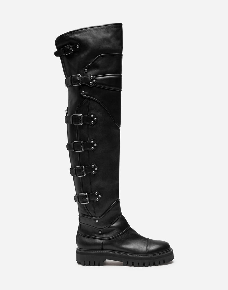 KNEE HIGH LEATHER BIKER BOOTS WITH BUCKLES