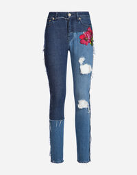 SKINNY PATCHWORK JEANS WITH PATCH