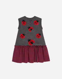 SLEEVELESS FABRIC MIX DRESS
