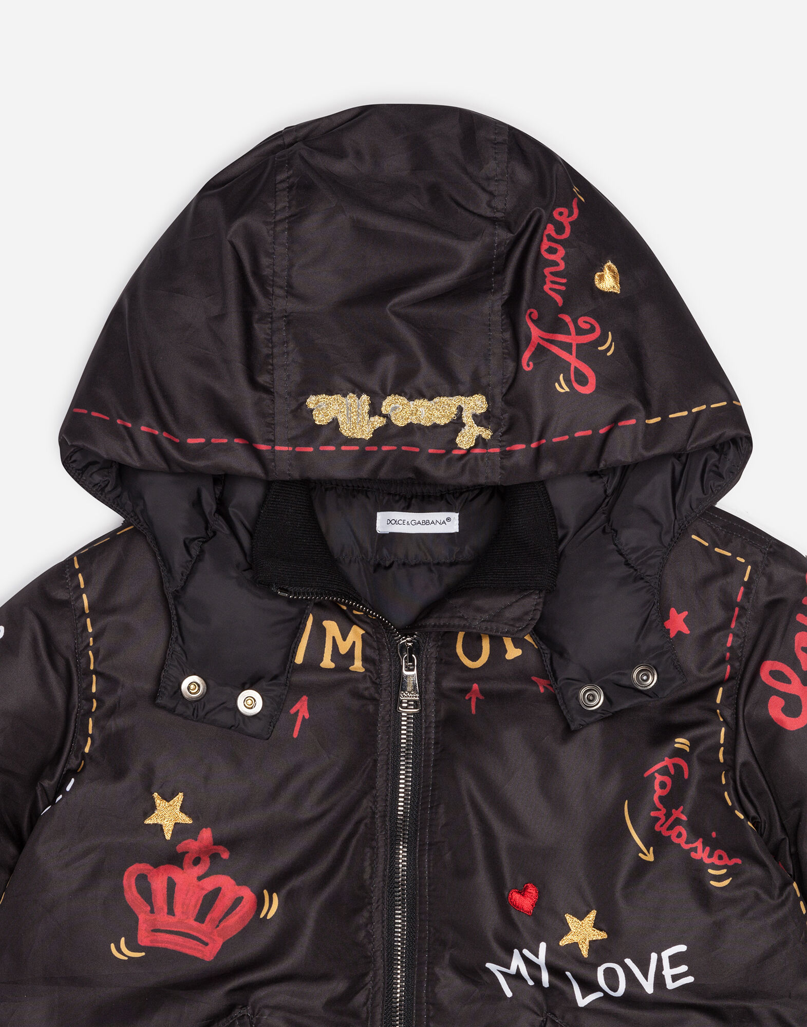 Dolce&Gabbana PRINTED NYLON DOWN JACKET WITH APPLIQUÉS