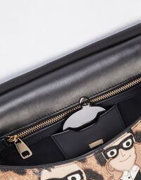 MEDIUM SICILY HANDBAG IN LEO CREPE LEATHER WITH DG FAMILY PATCH