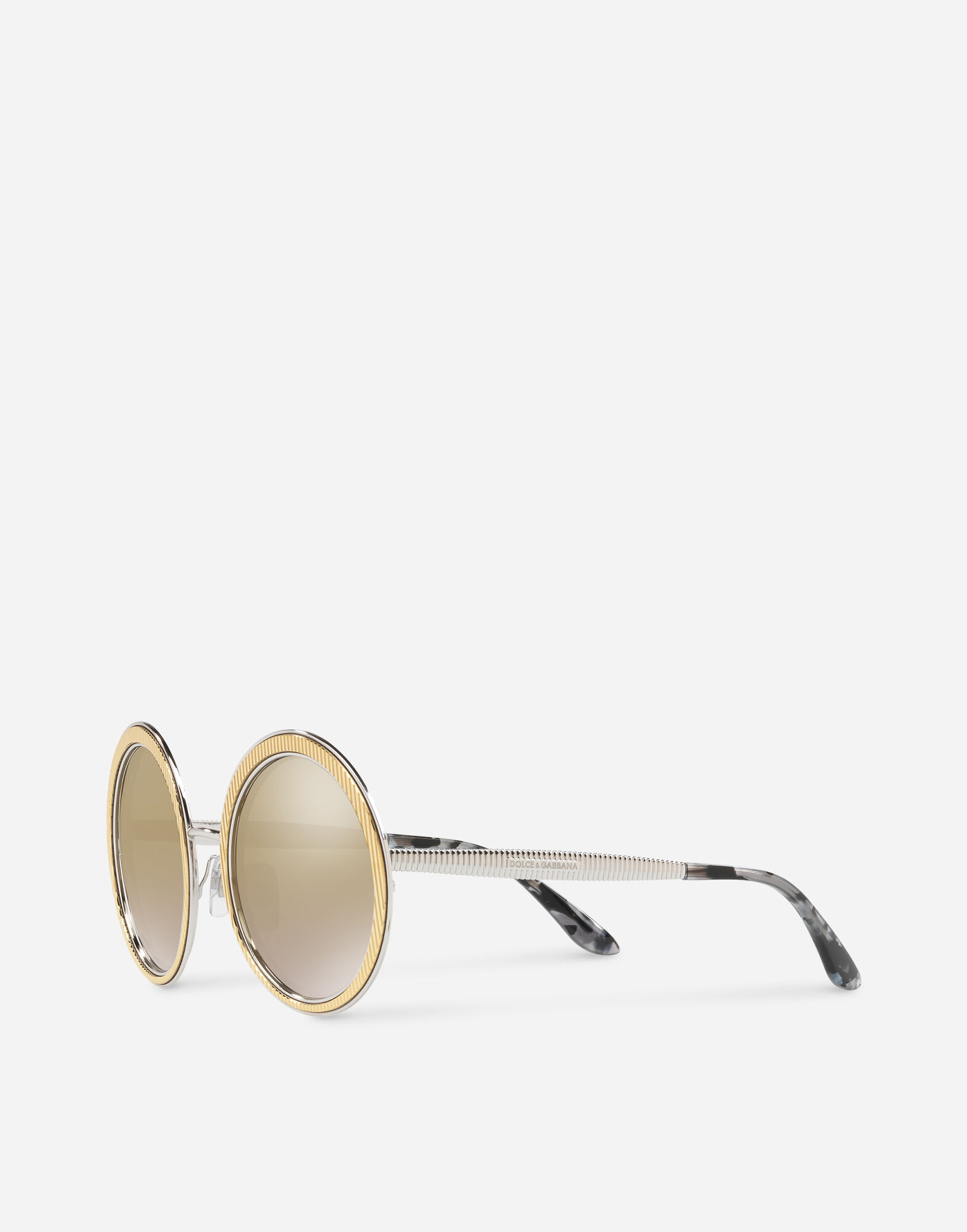 COPPER-SILVER ROUND SUNGLASSES