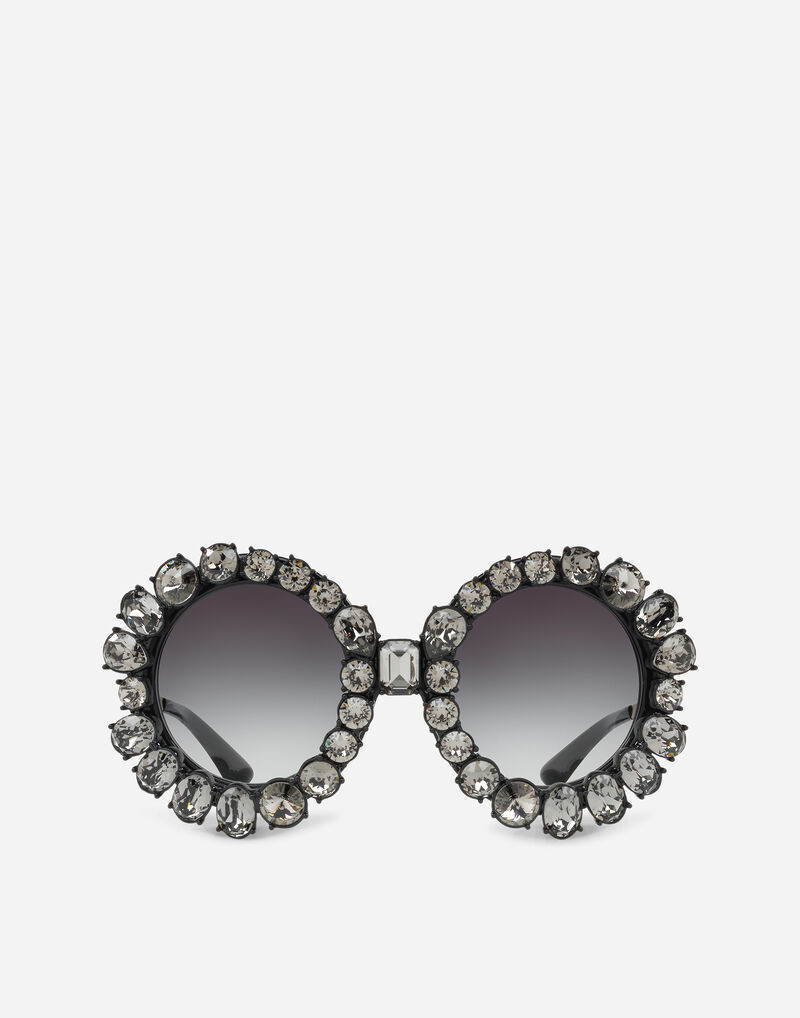 ROUND SUNGLASSES WITH COLORFUL CRYSTALS