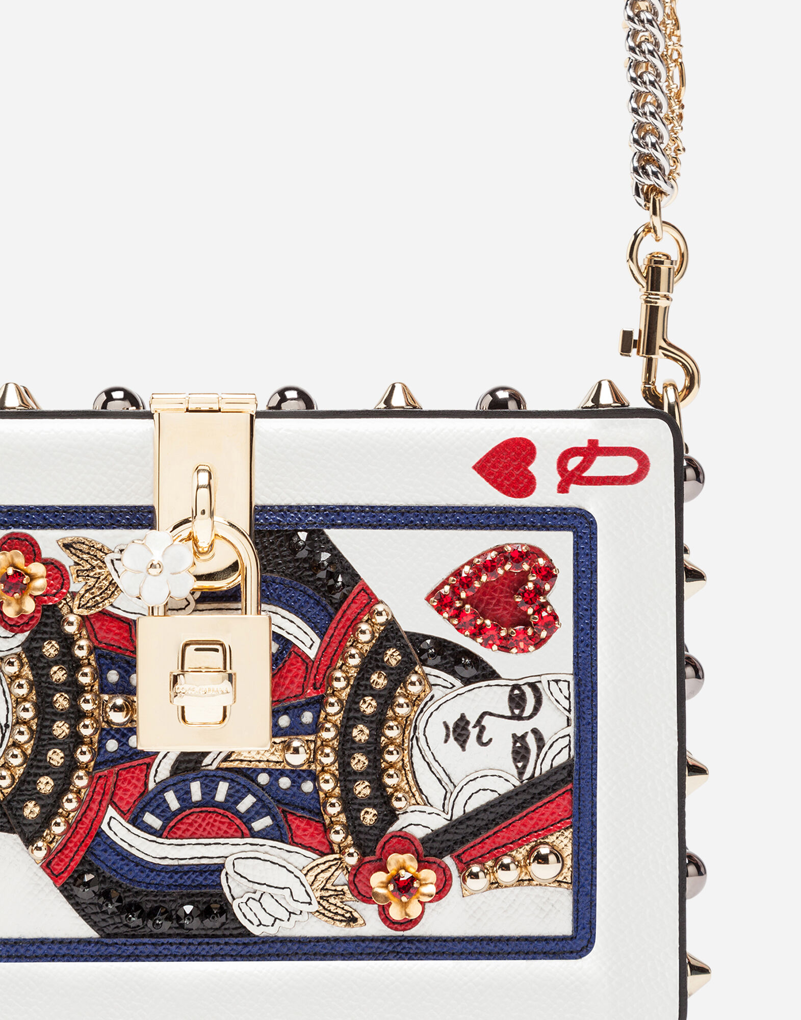 PRINTED LEATHER DOLCE BOX BAG WITH APPLIQUÉ