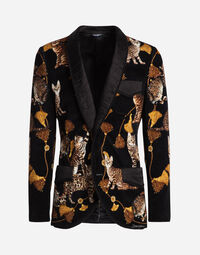 PRINTED SATIN VELVET SMOKING JACKET