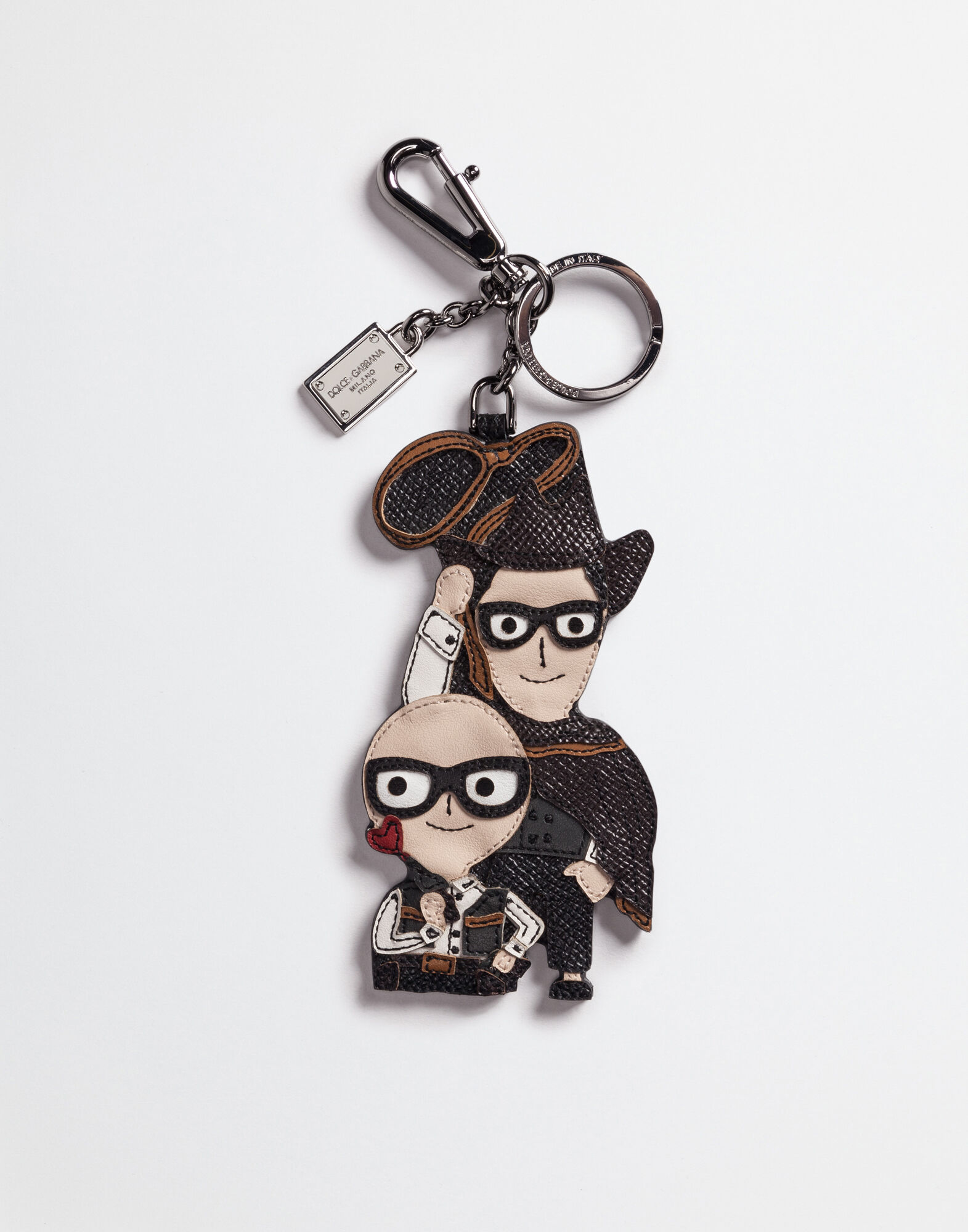 DAUPHINE LEATHER KEYRING WITH CHARMS OF DESIGNERS