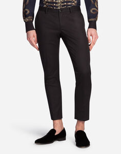 TROUSERS IN COTTON WITH TUXEDO DETAILS