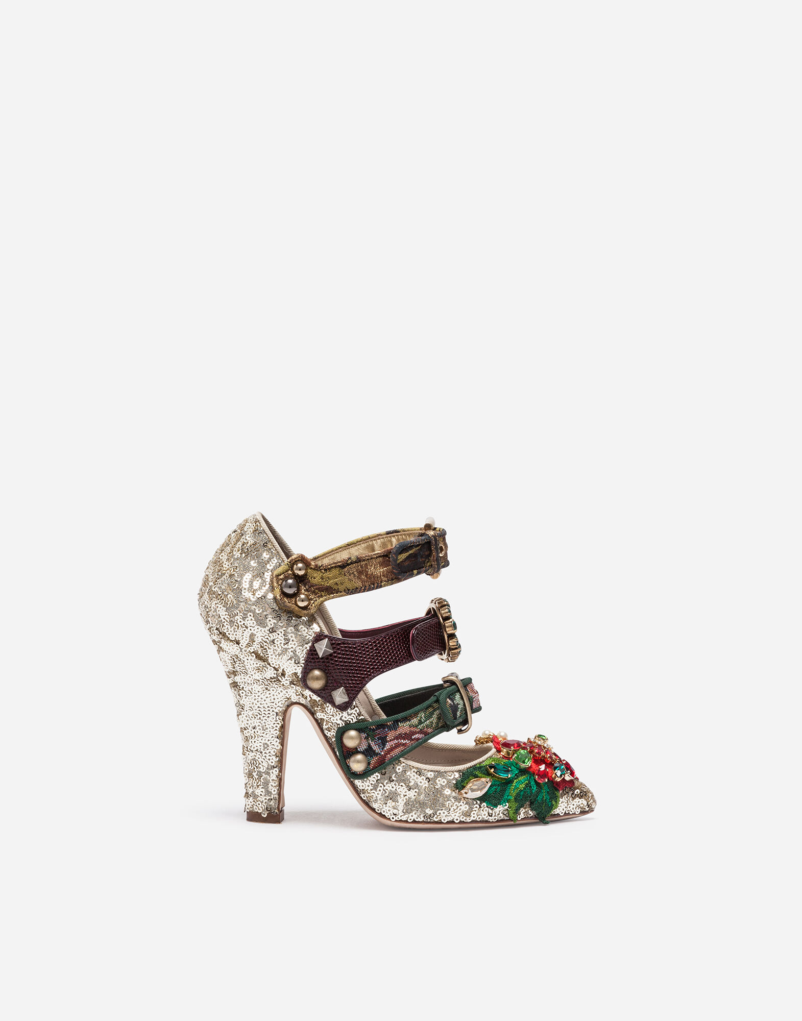 SEQUINED PUMPS WITH APPLIQUÉS