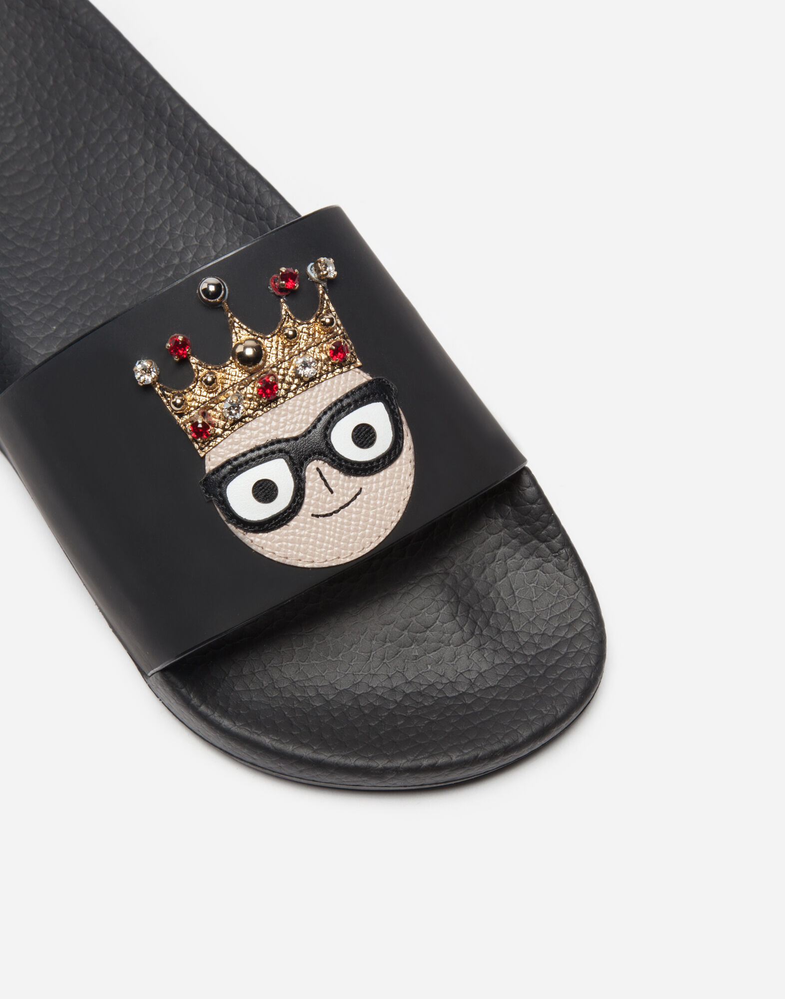 LEATHER SANDALS WITH PATCHES OF THE DESIGNERS