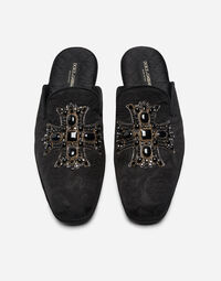BROCADE SLIPPERS WITH EMBROIDERY