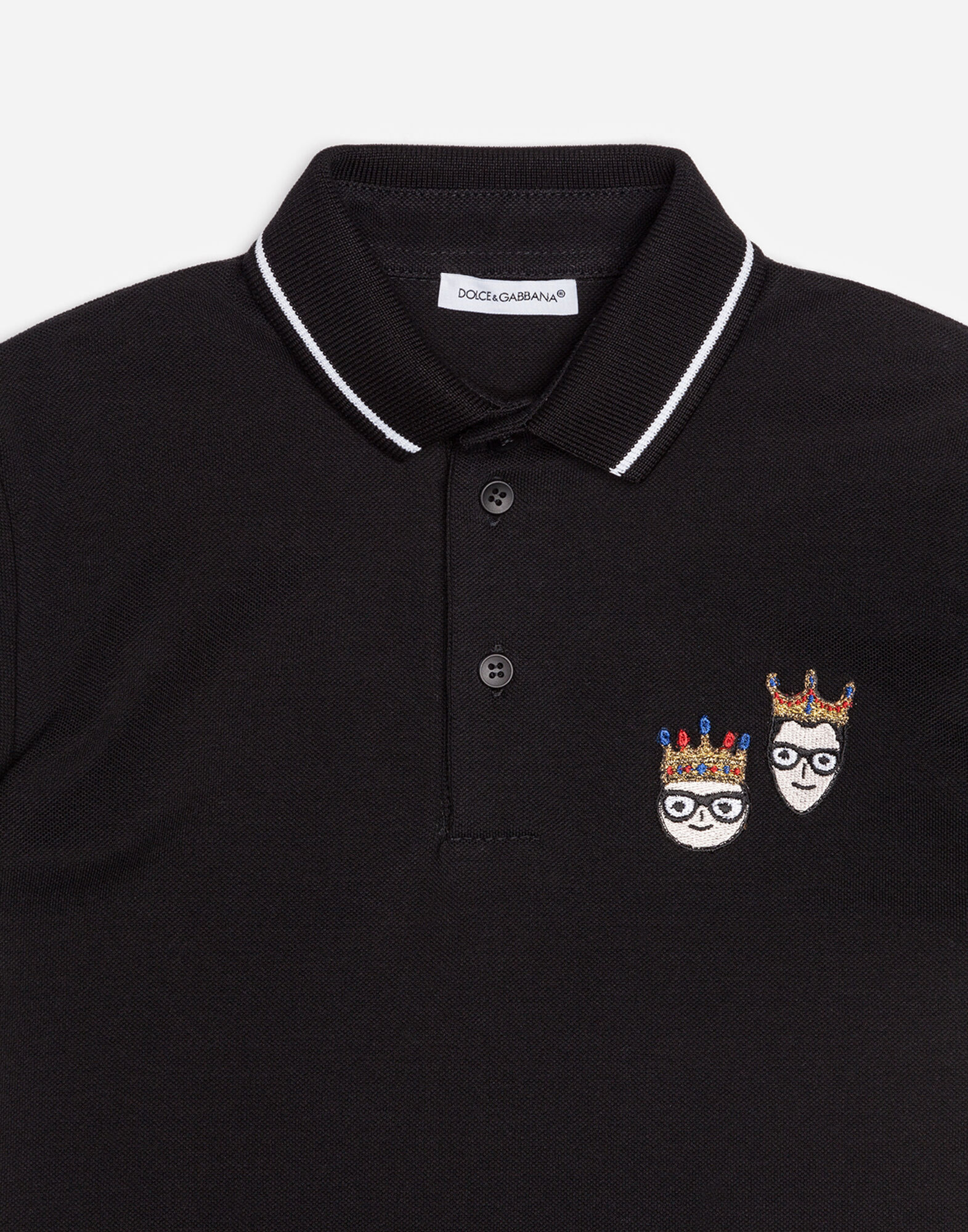 COTTON PIQUÉ POLO SHIRT WITH PATCHES OF THE DESIGNERS