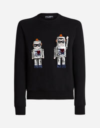 COTTON SWEATSHIRT WITH PATCHES OF THE DESIGNERS