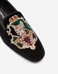 VELVET SLIPPERS WITH EMBROIDERY
