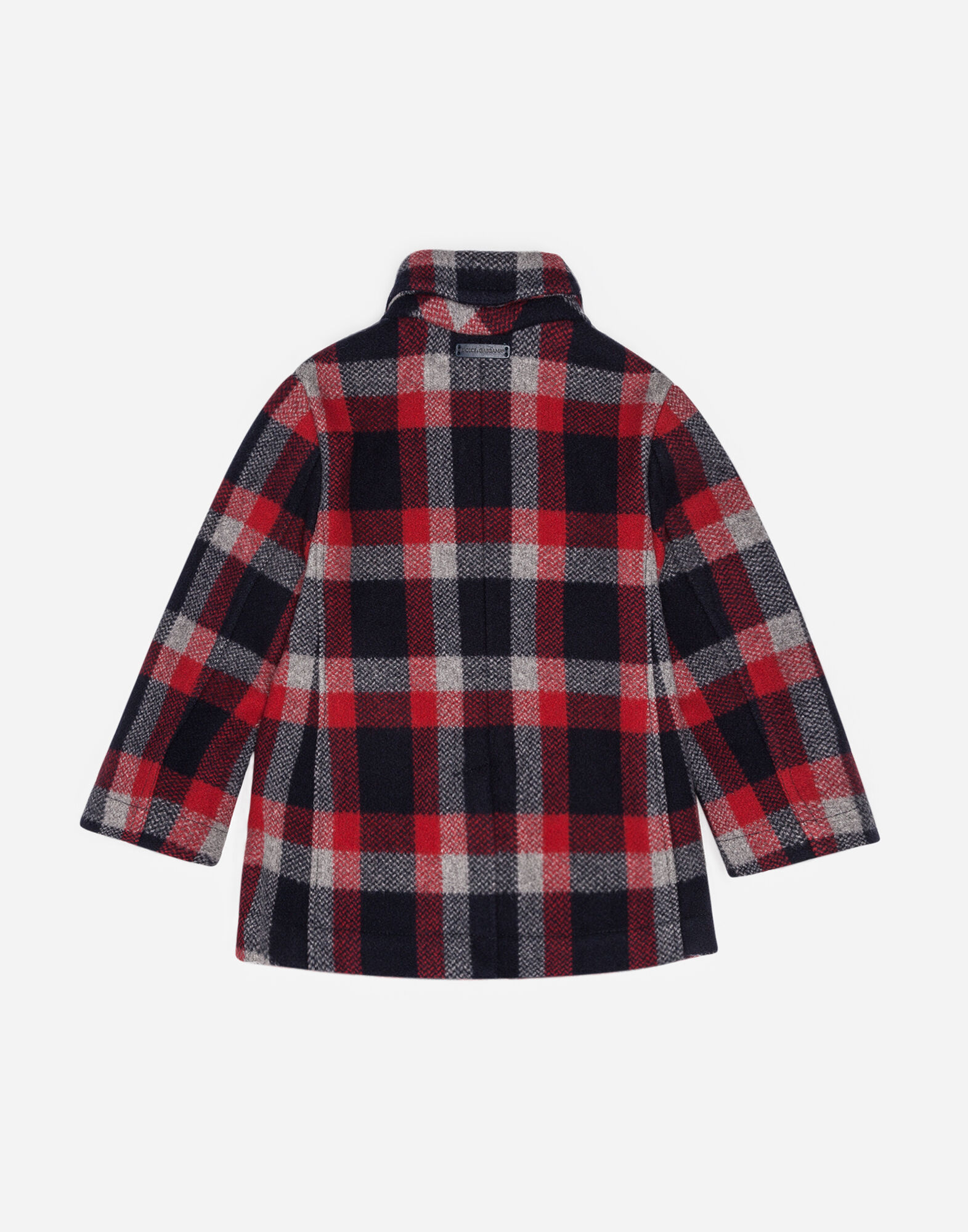 DOUBLE-BREASTED CHECK WOOL PEACOAT