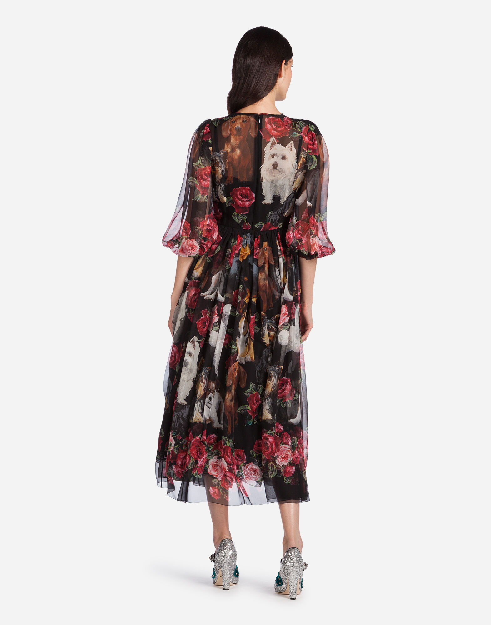 PRINTED SILK DRESS WITH PATCHES