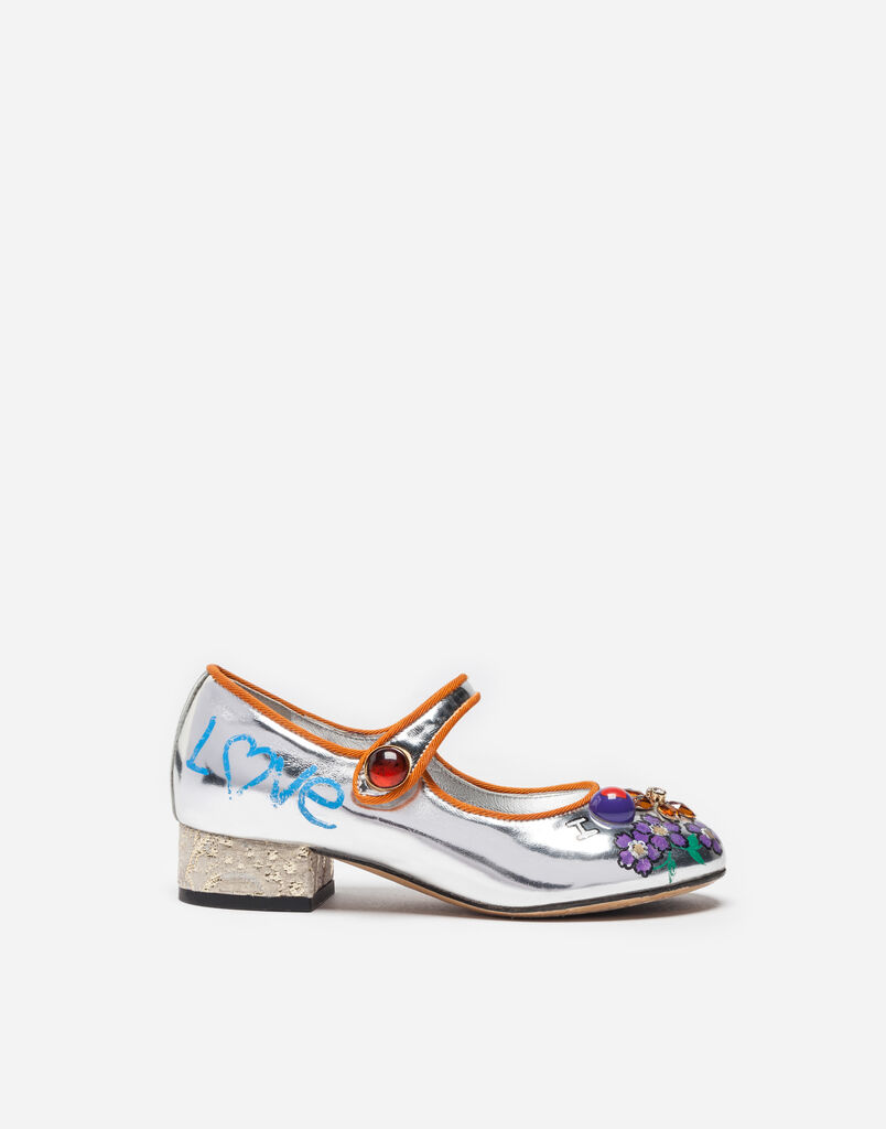 LAMINATED LEATHER BALLET FLATS WITH APPLIQUÉS