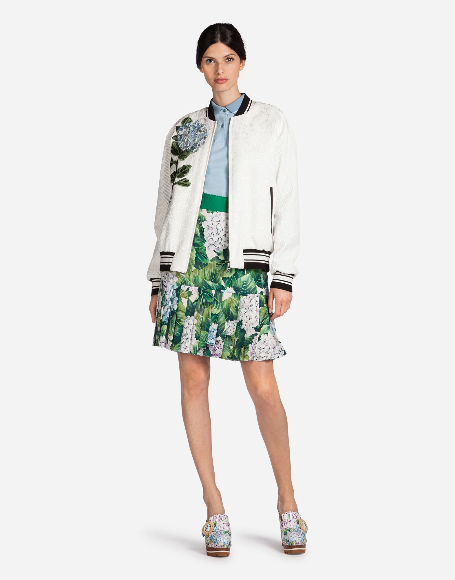 BOMBER JACKET IN BROCADE WITH PATCH