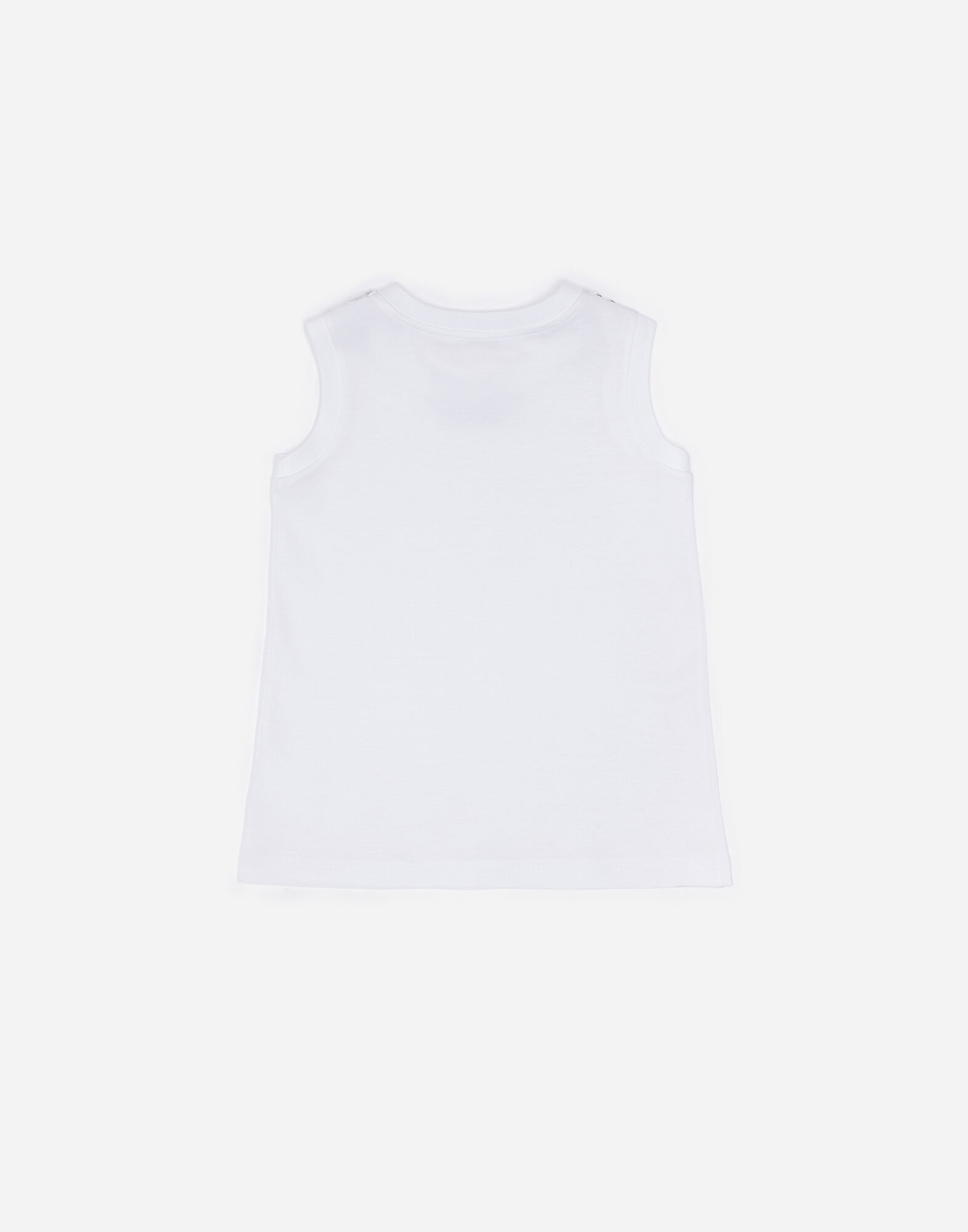 SLEEVELESS COTTON T-SHIRT WITH PATCHES
