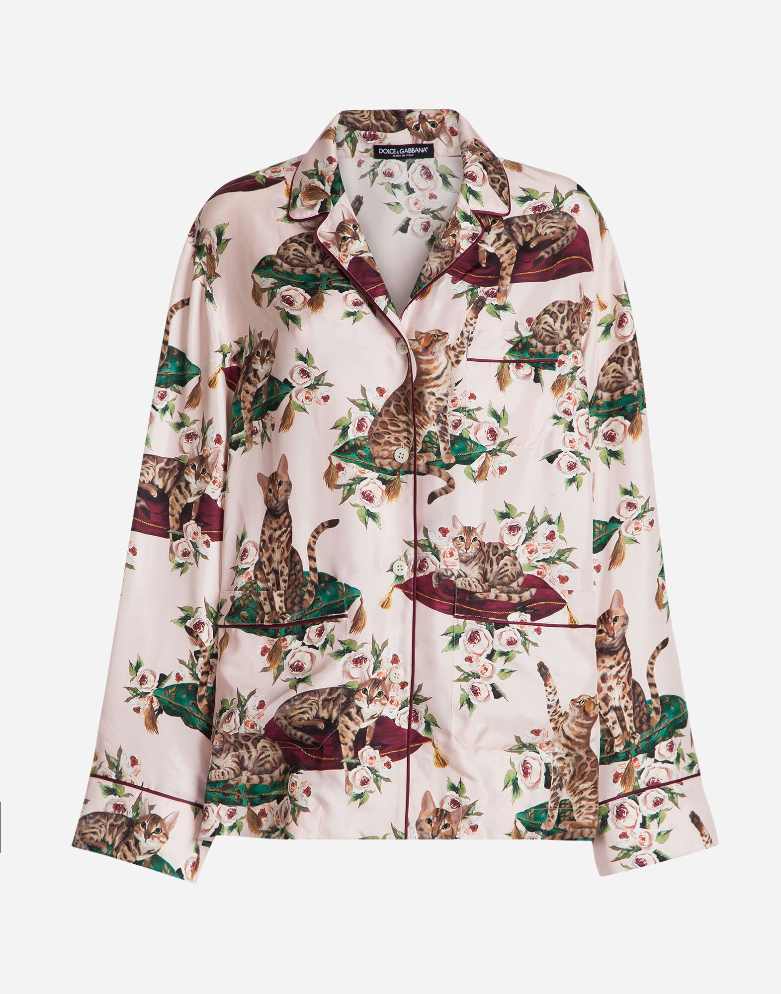PRINTED SILK PAJAMA BLOUSE