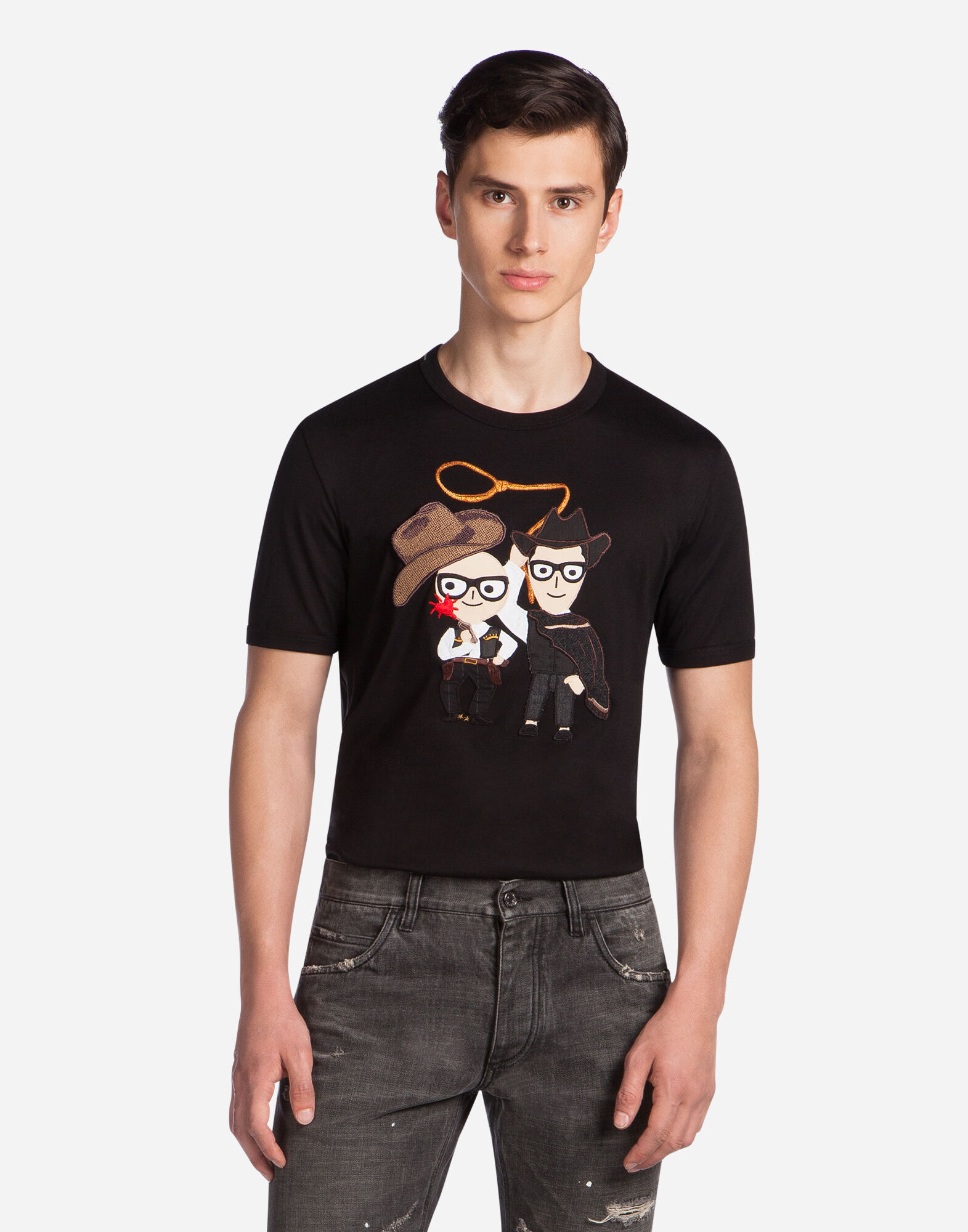 COTTON T-SHIRT WITH PATCH OF THE DESIGNERS