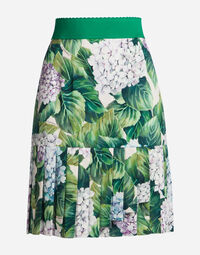 SKIRT IN PRINTED SILK WITH FLOUNCE