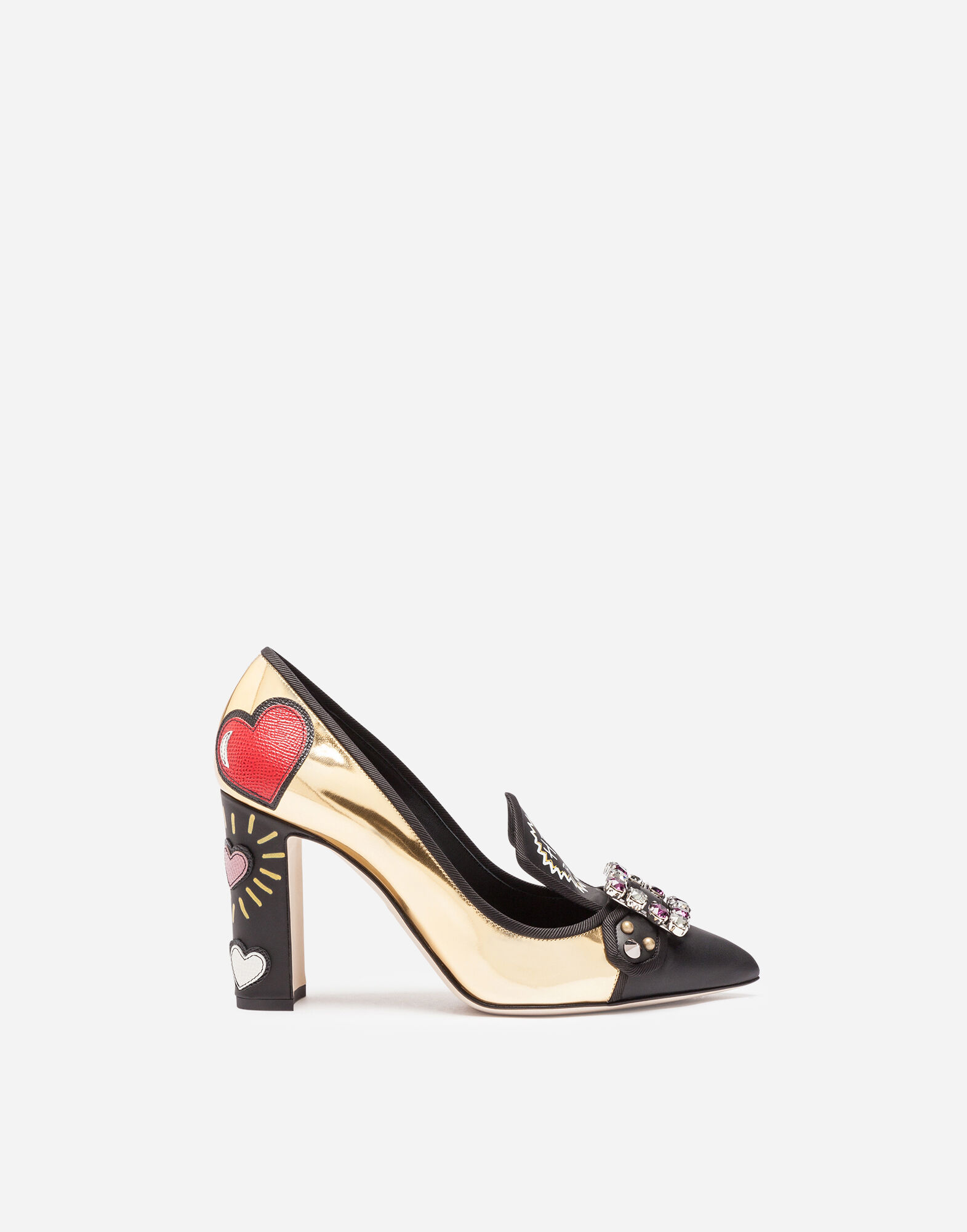 PRINTED LEATHER PUMPS WITH CRYSTALS