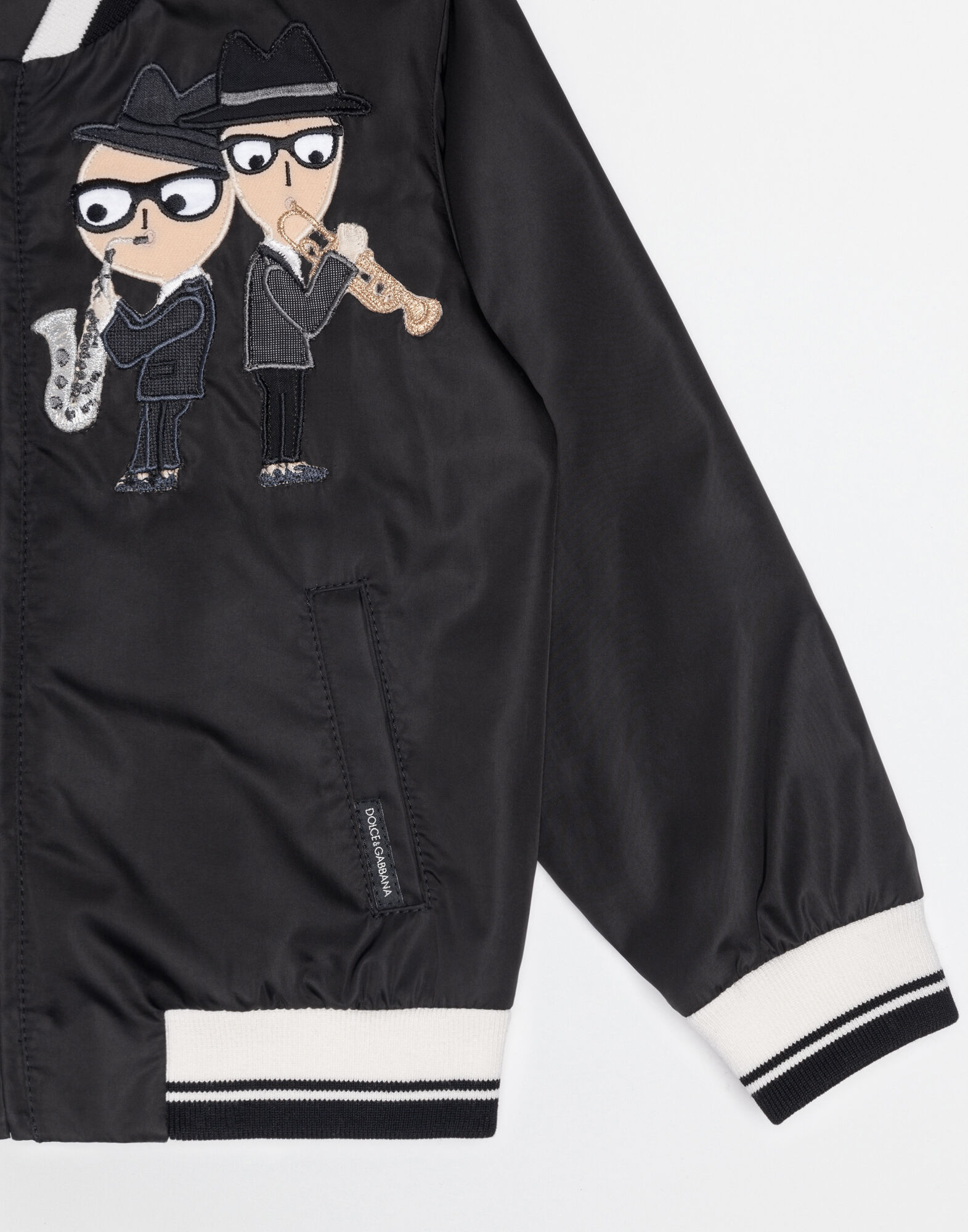 NYLON BOMBER JACKET WITH PATCHES OF THE DESIGNERS