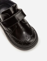 PATENT LEATHER LACE-UP ANKLE BOOTS WITH PATCH