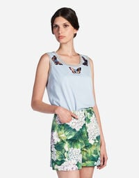 SLEEVELESS T-SHIRT IN COTTON WITH PATCH