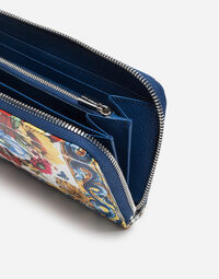 ZIP-AROUND PRINTED DAUPHINE LEATHER WALLET