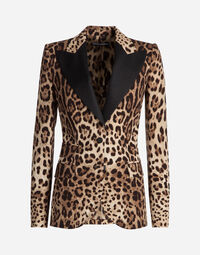 SINGLE-BREASTED JACKET IN LEOPARD PRINT CADY