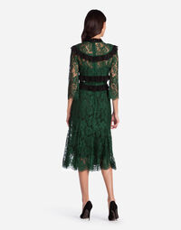 LACE DRESS WITH CONTRASTING-COLORED DETAILS