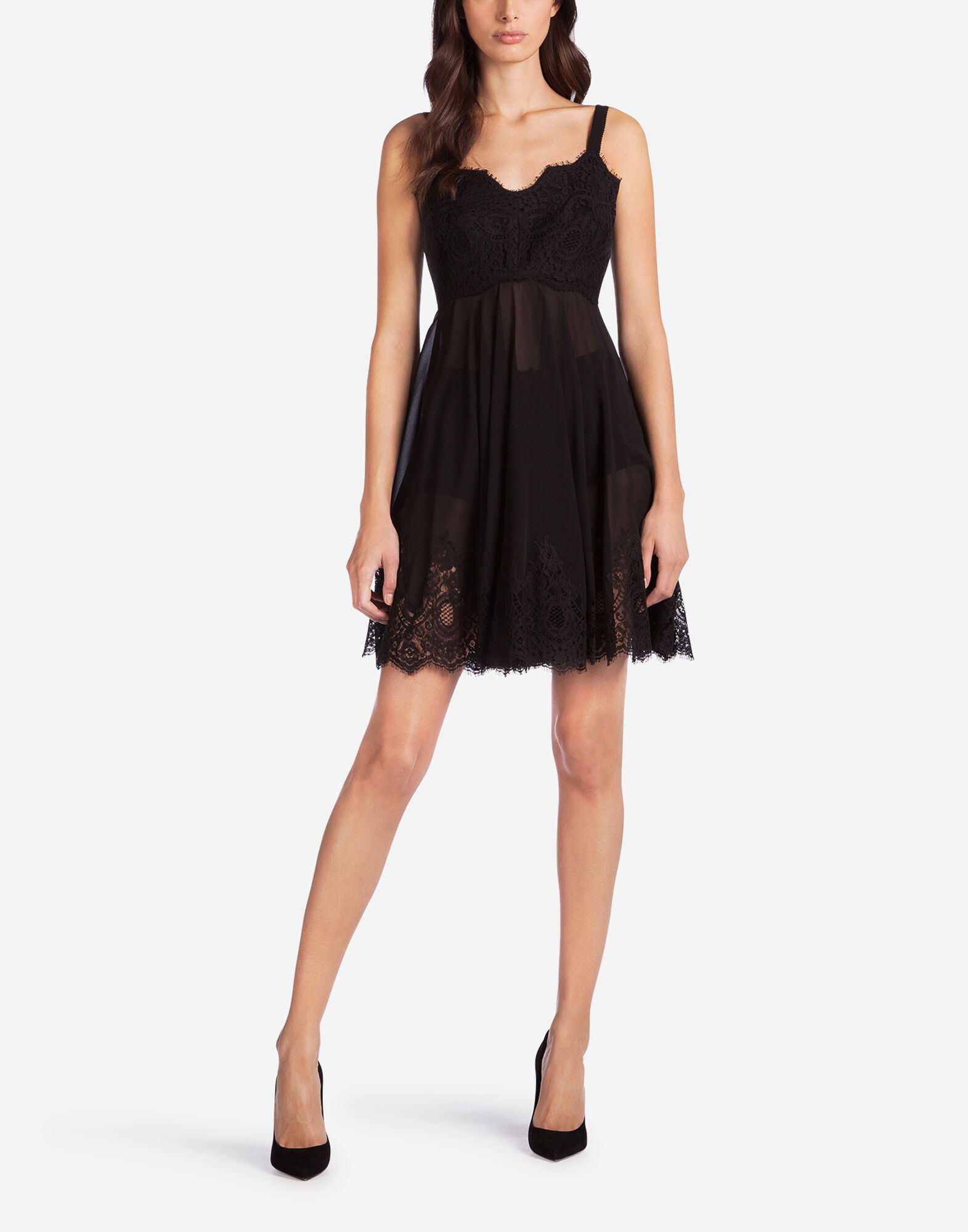 SILK LINGERIE DRESS WITH LACE DETAIL