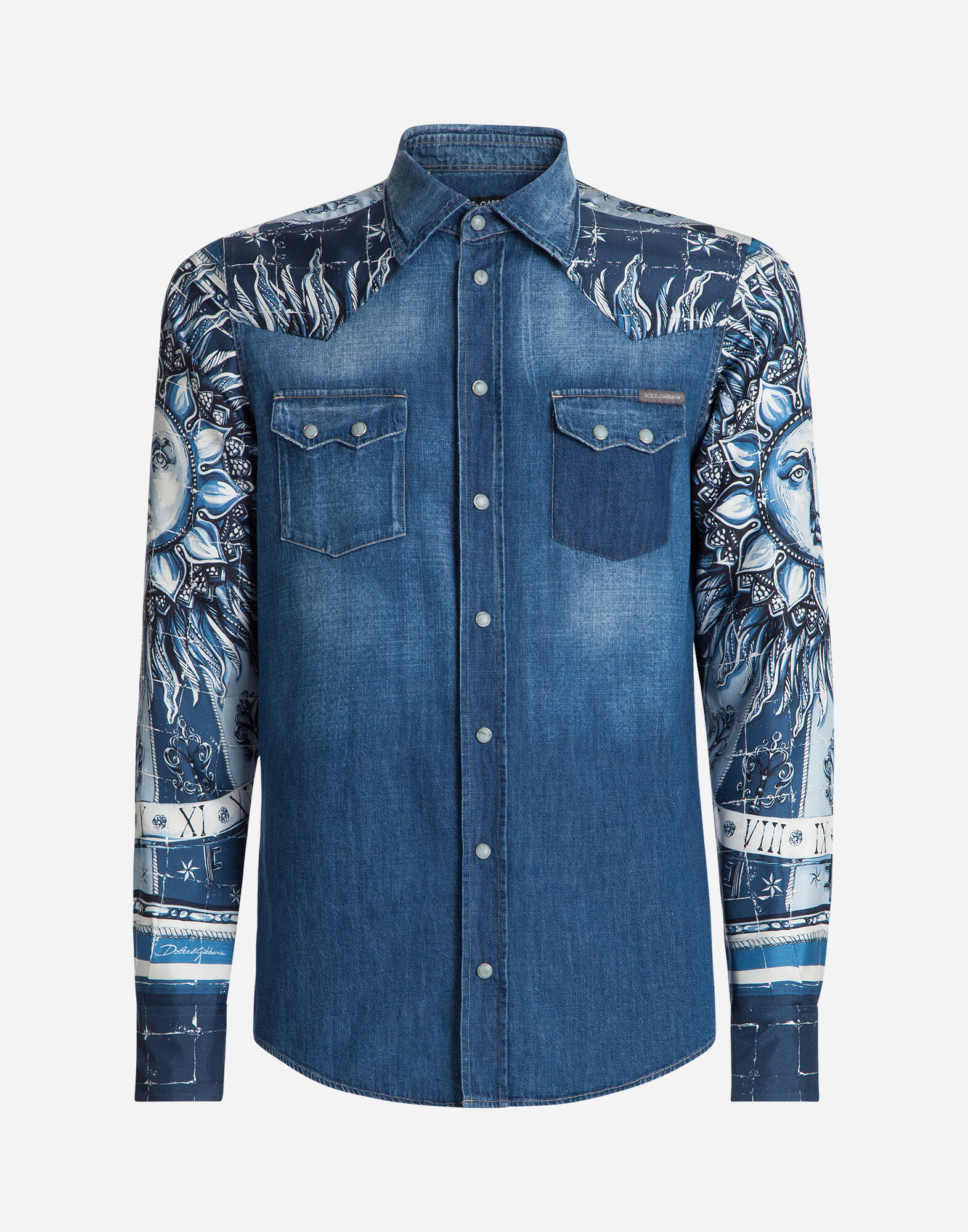 DENIM SHIRT WITH MAJOLICA DETAILS