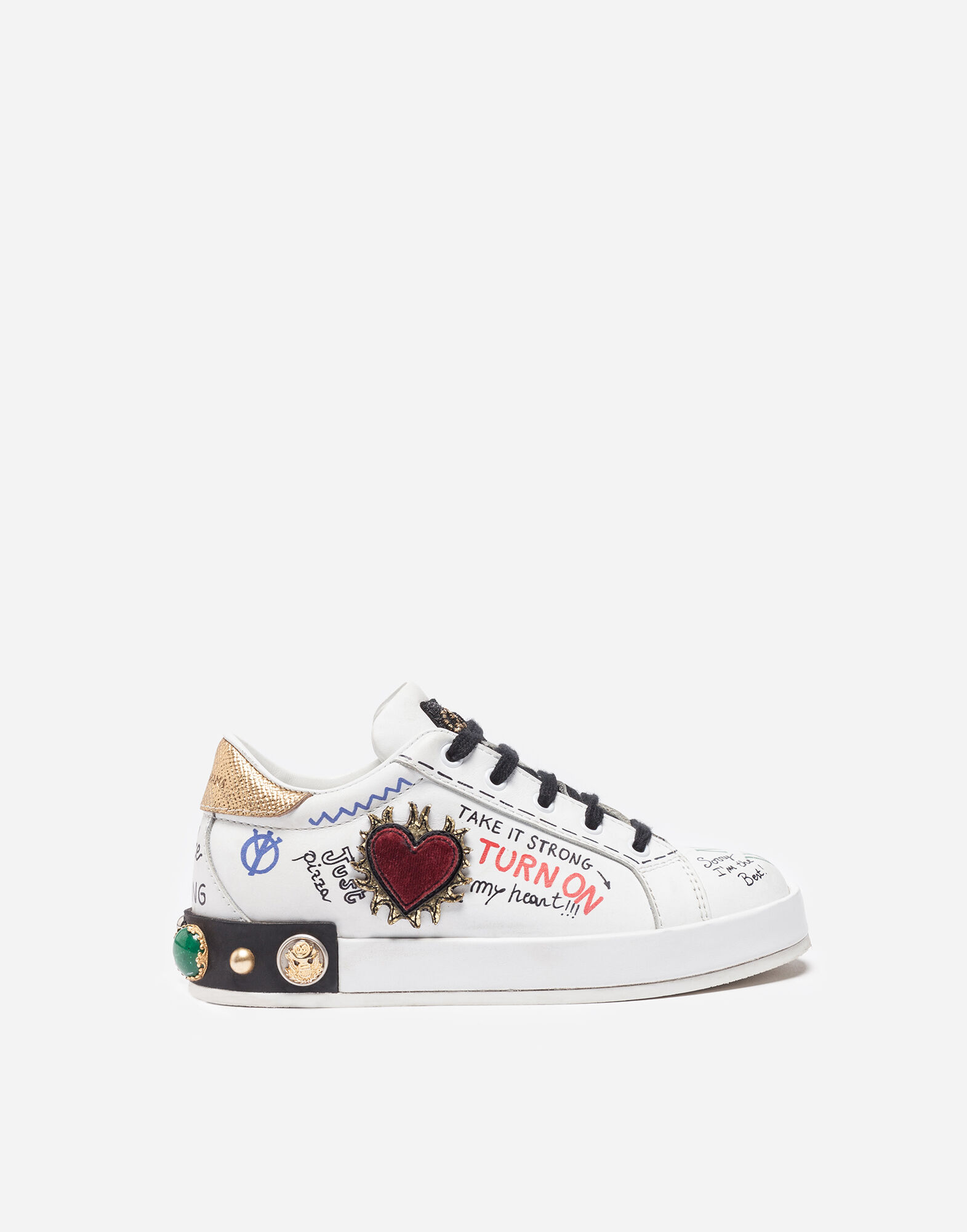 Dolce&Gabbana LEATHER SNEAKERS WITH APPLIQUÉS