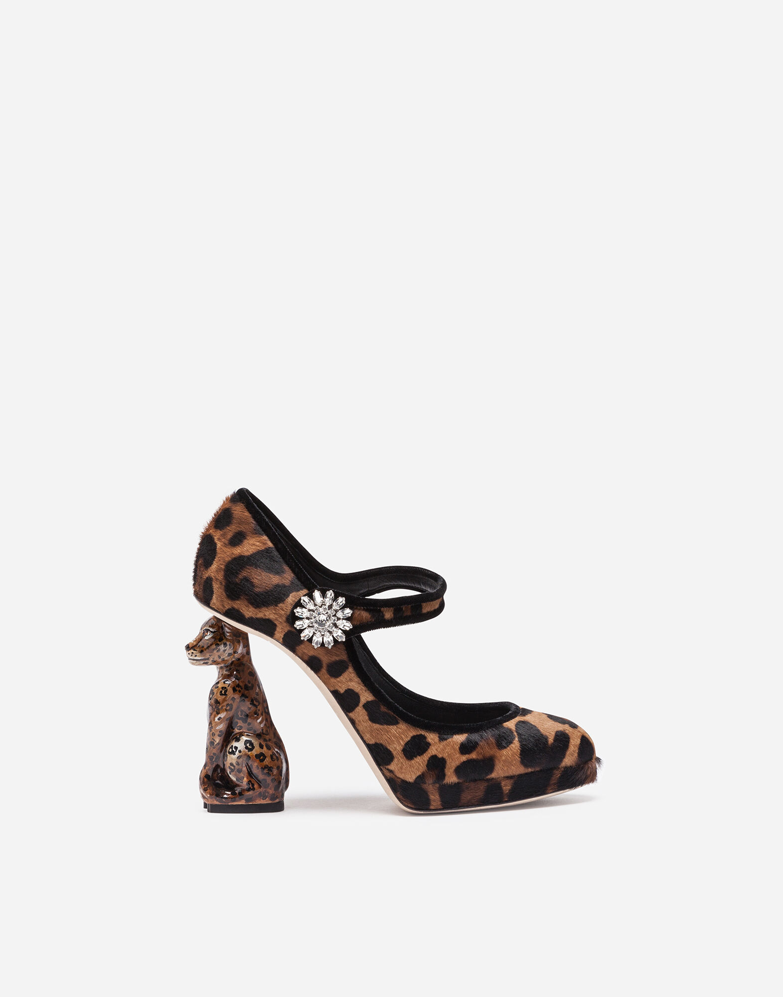 PONY HAIR MARY JANES WITH SCULPTURAL HEEL