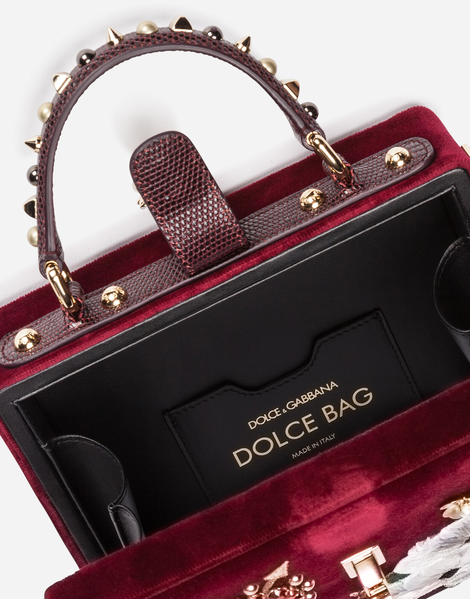 VELVET DOLCE BOX BAG WITH PATCH