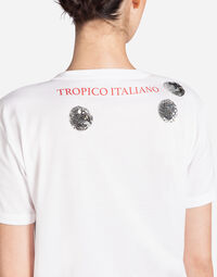 "T-SHIRT WITH PRINT ""IO C'ERO"" IN FRENCH"
