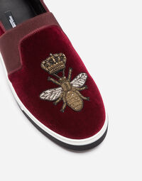 LONDON SLIP ON SNEAKERS IN VELVET WITH EMBROIDERY