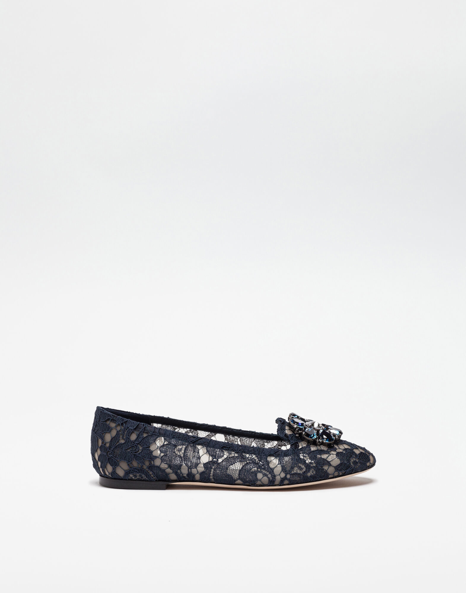SLIPPER IN TAORMINA LACE WITH CRYSTALS
