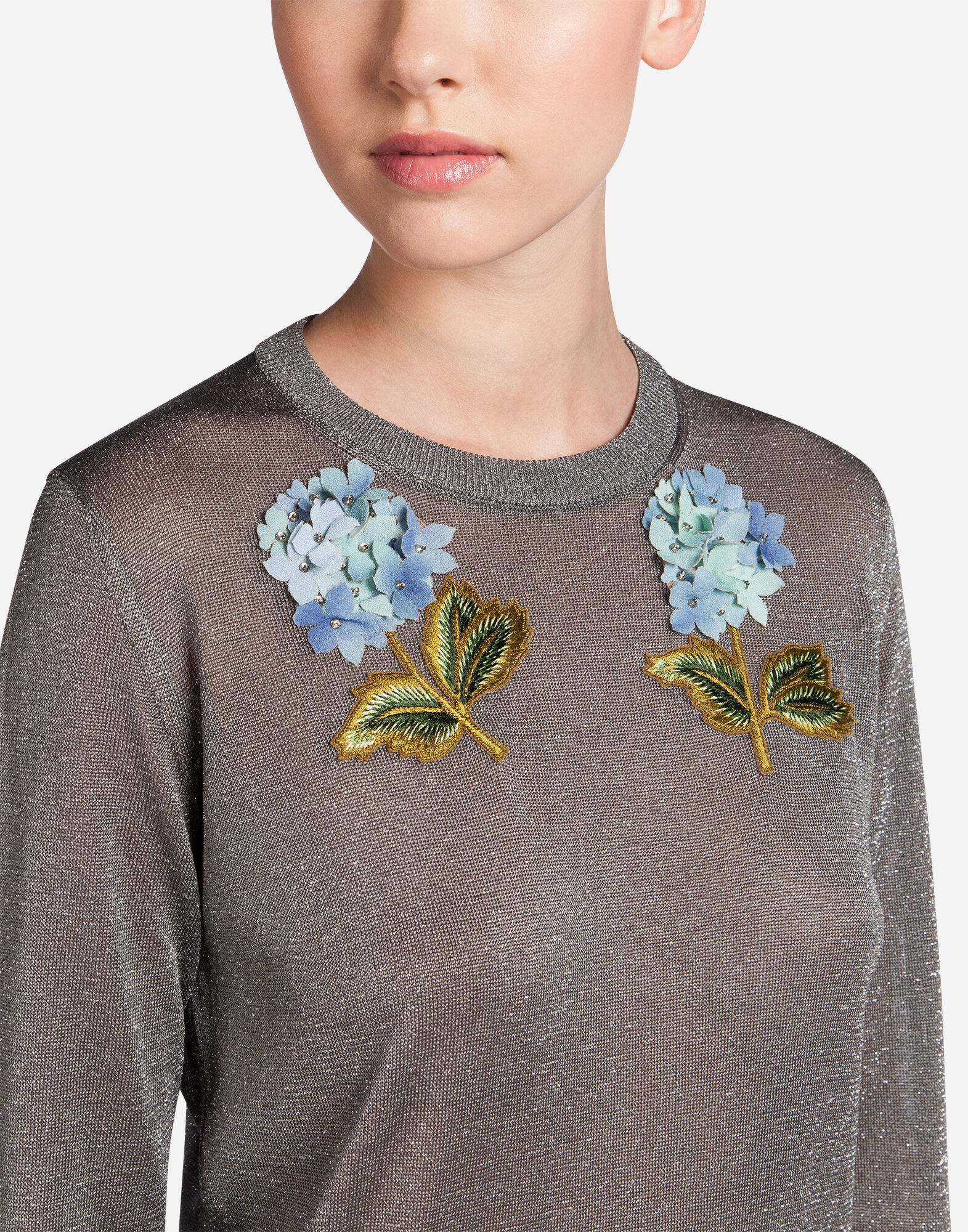SWEATSHIRT IN LUREX WITH EMBROIDERY