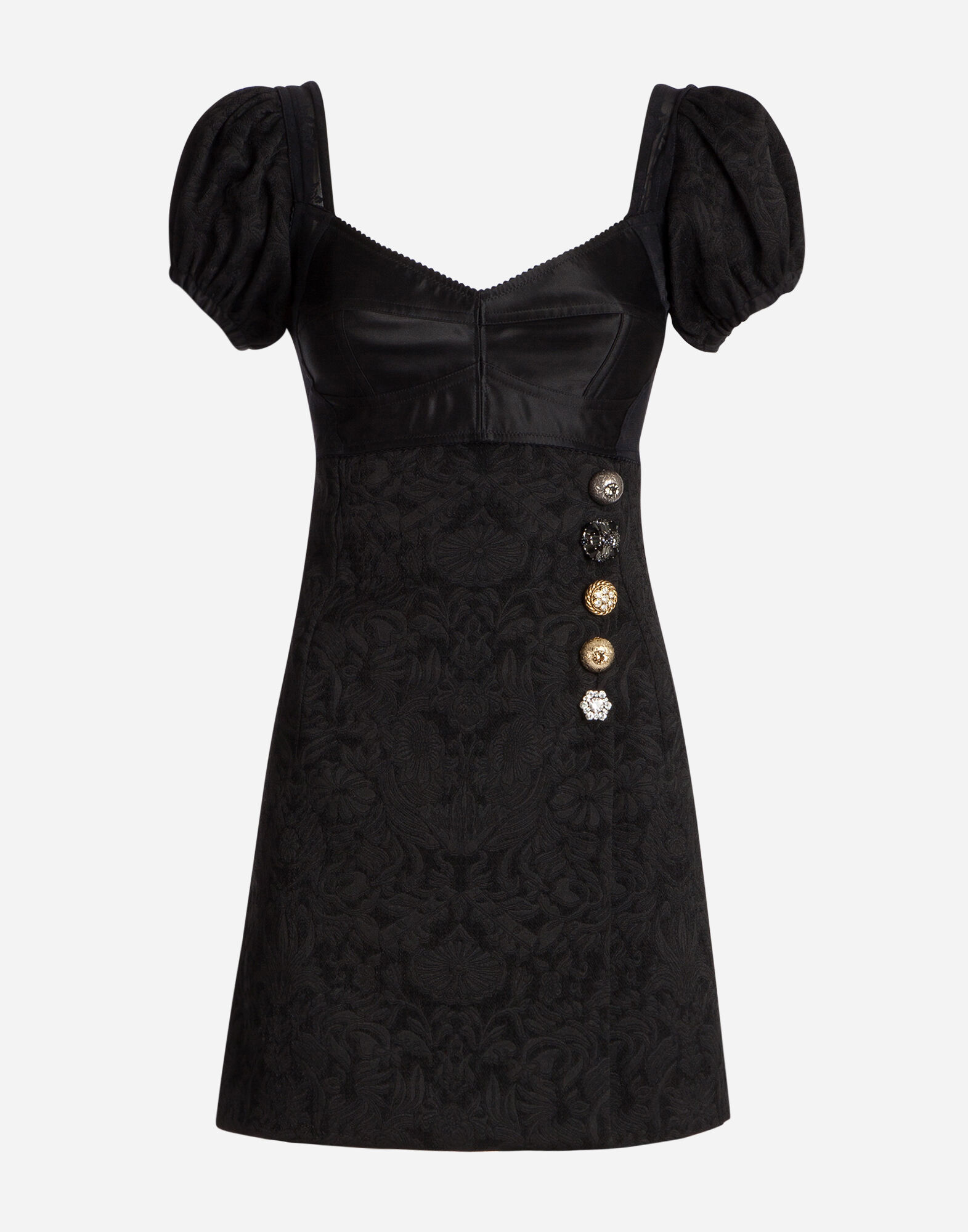 DRESS IN JACQUARD WITH JEWEL BUTTONS