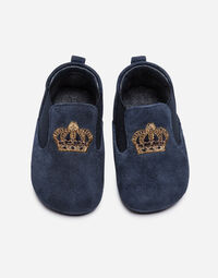 SUEDE SLIPPERS WITH EMBROIDERY