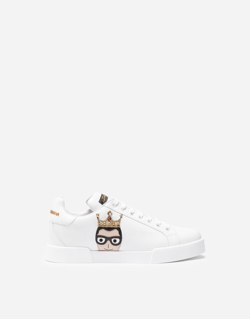 LEATHER SNEAKERS WITH PATCHES OF THE DESIGNERS