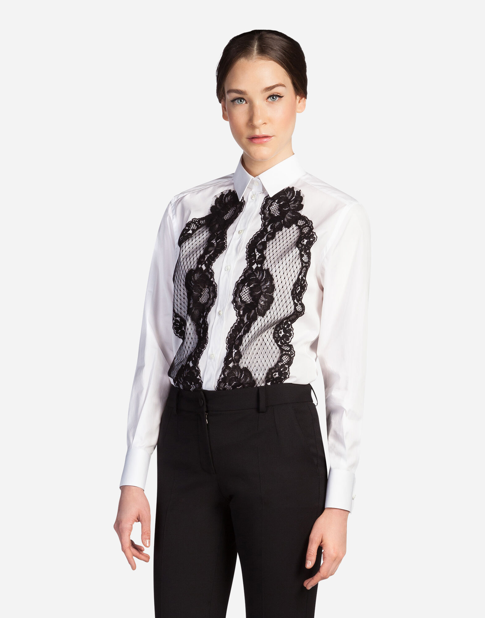 COTTON SHIRT WITH LACE INSERTS