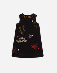 Dolce&Gabbana A-LINE DRESS IN PRINTED COTTON WITH APPLIQUÉ