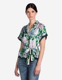 PYJAMA BLOUSE IN PRINTED SILK